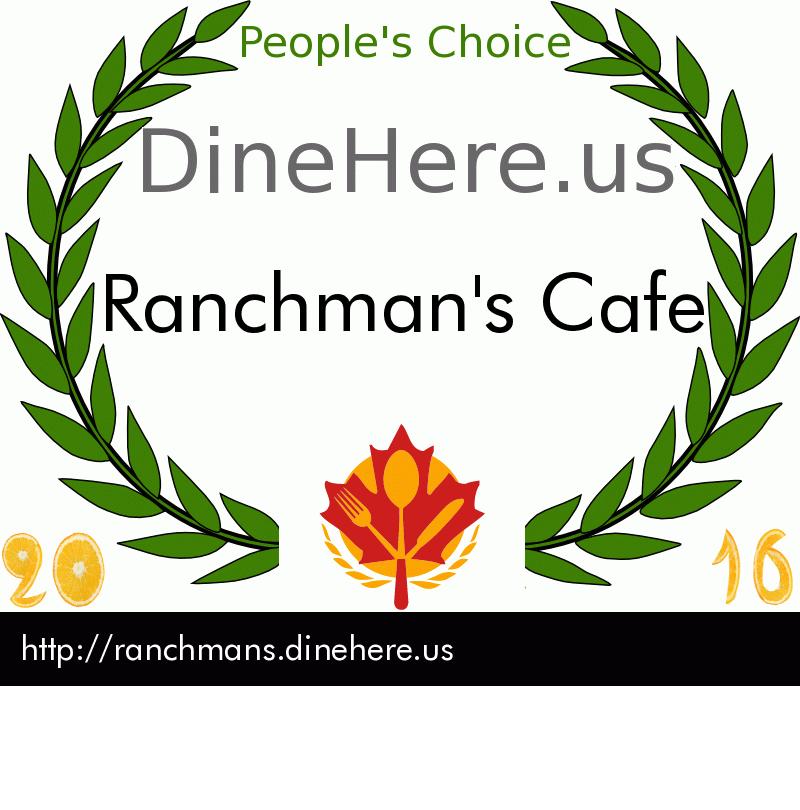 Ranchman's Cafe DineHere.us 2016 Award Winner